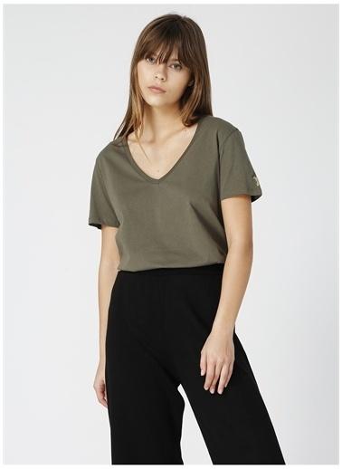 Fabrika Fabrika Teyo Haki V Yaka Kadın T-Shirt Haki